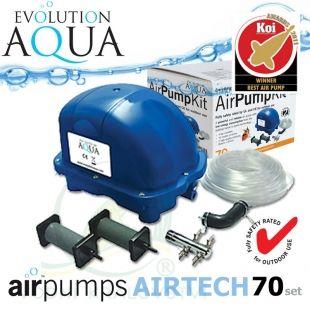AirPump Airtech 70 SET, 34 Watt, 70 l/min., originální balení, včetně vzduchovacích rozvodů a vzduchovacích kamenů Evolution Aqua