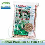 15 litrů 3-color All Fish Food, 3-4 mm krmivo pro veškeré druhy ryb i malých rozměrů, ke krmení od 8°C Velda