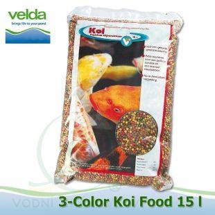 15 litrů 3-color Premium Koi Food, růstové letní krmivo 5-6 mm, pro velké ryby Velda