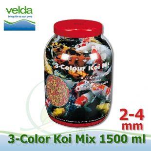 1500 ml 3-color Premium Fish Food, velikosti 2-4 mm, růstové letní krmivo pro malé i velké ryby Velda