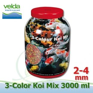 3000 ml 3-color Premium Fish Food, velikosti 2-4 mm, růstové letní krmivo pro malé i velké ryby Velda