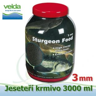 3000 ml jeseteří krmivo o velikosti 3 mm, pro malé i velké jesetery, pro celoroční krmení Velda