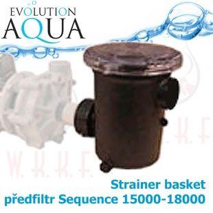 """čerpadlový předfiltr, speciálně pro sequence 15000-18000, i pro čerpadla s 1 1/2 závitem, , extra velký koš, průhledné lehce rozdělávací víko"""" Evolution Aqua"""