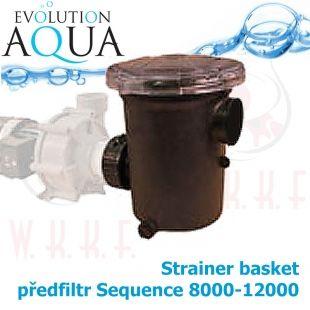 """čerpadlový předfiltr, speciálně pro sequence 8000-12000, i čerpadla s 2 závitem, extra velký koš, průhledné lehce rozdělávací víko"""" Evolution Aqua"""