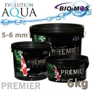 EA Premier, extra kvalitní krmivo pro střední a velké ryby, speciálně pro koi, velikost 5-6 mm, balení 6 kg, cca 20 litrů Evolution Aqua