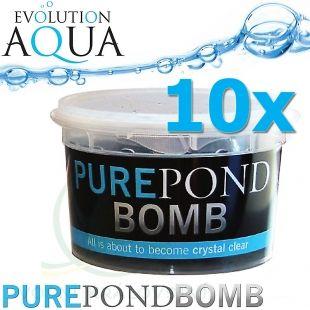 Pure Pond BOMB 10x V BACTERIAL POND LIQUID, čistící a startovací bakterie pro bio-rovnováhu v jezírku, použitelné po celý rok, aplikace od 4 °C vody v jezírku 10 ks pro 100-800 m3 Evolution Aqua