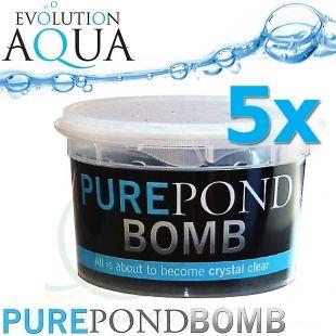 Pure Pond BOMB 5x V BACTERIAL POND LIQUID, čistící a startovací bakterie pro bio-rovnováhu v jezírku, použitelné po celý rok, aplikace od 4 °C vody v jezírku, 5 ks pro 50-400 m3 Evolution Aqua