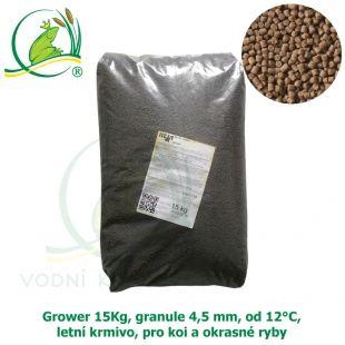 GROWER 15KG, GRANULE 4,5 MM, OD 12°C, LETNÍ KRMIVO, PRO KOI A OKRASNÉ RYBY VK