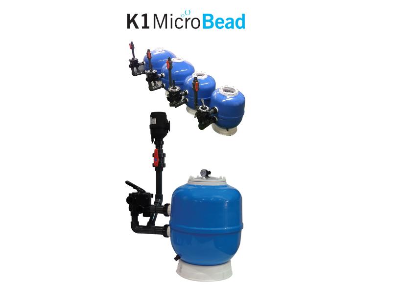 K1 Micro BEAD 20 palců, profesionální tlaková nízkotlaká filtrace pro jezírka 10-100 m3, včetně 50 litrů K1 Micro Evolution Aqua