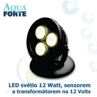 LED osvětlení jezírek a zahrad o výkonu 1x12 Watt se senzorem, včetně trafa a kabelu Aqua Forte