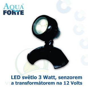 LED osvětlení jezírek a zahrad o výkonu 1x3 Watt s auto-senzorem ON/OFF, včetně trafa a kabelu, cca 7,5 m Aqua Forte