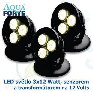 LED osvětlení jezírek a zahrad o výkonu 3x12 Watt se senzorem, včetně trafa a kabelu Aqua Forte