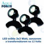LED osvětlení jezírek a zahrad o výkonu 3x3 Watt s auto-senzorem, včetně trafa a kabelu, cca 15 metrů