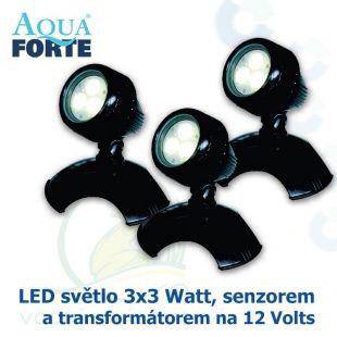 LED osvětlení jezírek a zahrad o výkonu 3x3 Watt s auto-senzorem, včetně trafa a kabelu, cca 15 metrů Aqua Forte