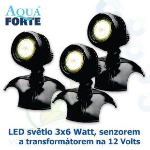 LED osvětlení jezírek a zahrad o výkonu 3x6 Watt se senzorem, včetně trafa a kabelu Aqua Forte