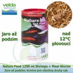 NATURE FOOD 1250 ML SHRIMPS + MEAL WORMS, OD 12°C, JARO AŽ PODZIM, VŠECHNY DRUHY RYB