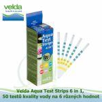 VELDA AQUA TEST STRIPS 6 IN 1, 50 TESTŮ KVALITY VODY NA 6 RŮZNÝCH HODNOT